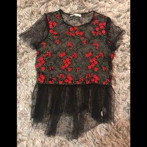 Black peplum floral shirt